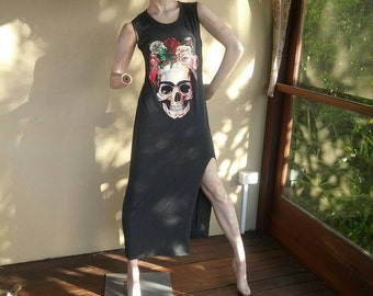 RESERVED Grey Tattoo flash skull roses long T-shirt punk dress sugar skull Day of the dead.