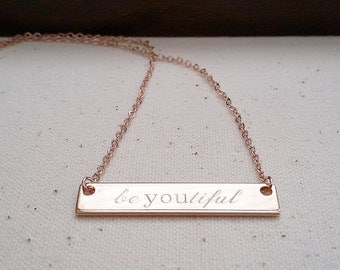 Classic Engraved Bar Necklace - Personalized Jewelry