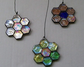 Iridescent Suncatchers, Set of 3 Hanging Floral Shaped Suncatchers, Clear, Green and Pink, Sun  Catcher, Stained Glass, Home Decor, Gift