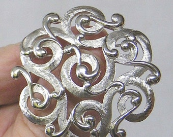 ON SALE Vintage TRIFARI Silvertone Brooch Entwined Scroll Design