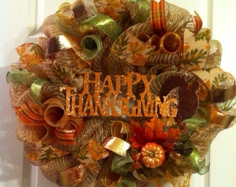 Thanksgiving Wreath/ Fall Wreath/ Deco Mesh Wreath/ Happy Thanksgiving Wreath/ Give Thanks Wreath/ Fall Door Decor