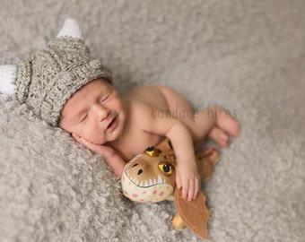 Crochet boy hat baby boy hat viking hat/marble grey viking hat, photo prop infant boy-MADE TO ORDER