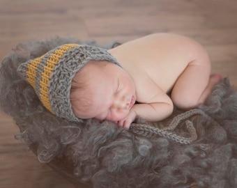 Newborn Hat, Newborn Bonnet, Newborn Photo Prop, Crochet Baby Hat, Baby Boy Hat, Baby Girl Hat, GOLD Grey Baby Hat, Winter Baby Bonnet, GRAY
