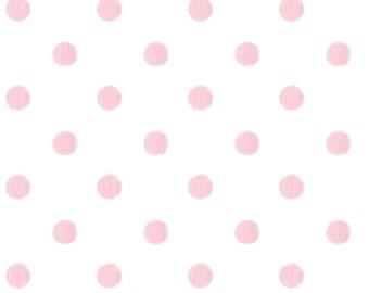 Handmade Window Curtain Valance 44W x 14L in White/Pink Polka Dot Print  100% Cotton