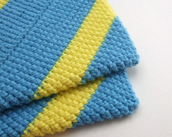 Striped Yellow and Blue Double Thick Crochet Pot Holders-----set of 2