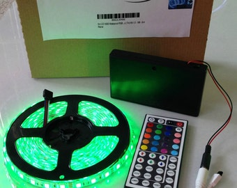 Battery Powered 5050 RGB LED Strip Light Kit 44 key Remote (Waterproof, 300 LEDs, 16.4ft, OctoPak 2-S)