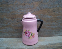 Miniature coffee pot pastel pink