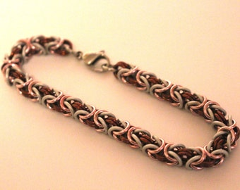 Byzantine Chainmaille Bracelet   Hand Crafted Chainmaille Jewelry   Handmade Bracelet   Pink, Brown, and White   Anodized Aluminum