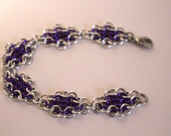 European 4 in 1 Chainmaille Bracelet | Hand Crafted Chainmaille Jewelry | Handmade Bracelet | Purple and Silver | Anodized Aluminum