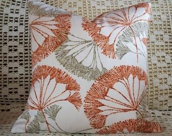 18x18 Pillow Cover White Orange Taupe Dandelion Print Envelope Closure