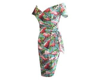 Flamingo Off the Shoulder Wiggle Pencil Wrap Dress 1940s 1950s Pinup Bow Made to measure in lots of colours!