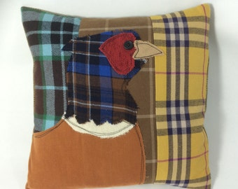 Pheasant rustic applique free motion embroidery pillow /cushion 30cm x 30cm