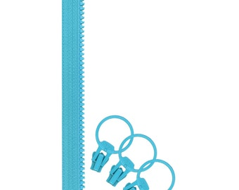 Jelly Freedom Zipper + 3 Pulls - Turquoise by Lecien (57632-70)