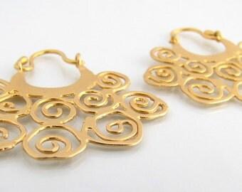 Gold hoop earrings, statement earrings, gold dangle earrings, ethnic jewelry, gypsy earrings, ancient jewelry, boho chic earrings, tribal