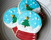 Snow Globe Christmas Cookies - 1/2 or Full Dozen Christmas Sugar Cookies