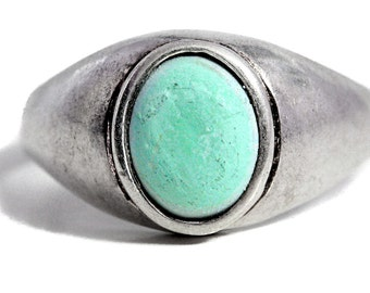 Mens Silver Turquoise Ring