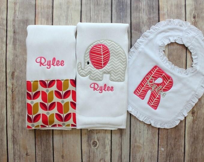 Elephant Burp Cloth Set, Monogrammed Elephant Burp Cloth Ruffle Bib, Monogrammed Baby Gift, Elephant Baby Gift, Baby Girl Elephant, Monogram