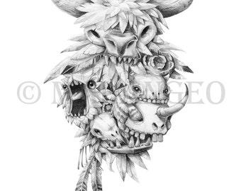Teef, feathers & Skullz A5 Fine Art Print