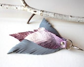 Pink & blue Leather Feather keychain / Leather Feather purse charm / Handbag decoration / Leather Zipper charm