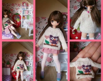 Picco neemo sweaters. Owl pull for Azone Picconeemo 1/12 dolls