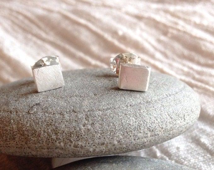 tiny matte silver square studs - wild grace jewelry
