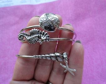 Seahorse seahorn starfish bangle bracelet set