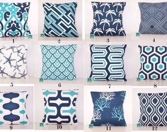 Mix and Match Outdoor Pillow Cover - Navy and Turquoise PILLOW - Sham - Various Sizes - Turquoise Pillow - Accent Pillow - 20x20,18x18,22x22