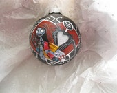 Hand Painted Glass Christmas Ornament with  Jack and Sally, The Nightmare Before Christmas