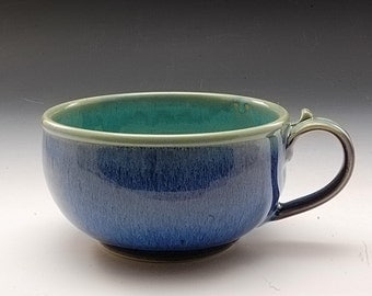 Handmade Pottery Soup Bowl Turquoise and Purple Stoneware by Mark Hudak