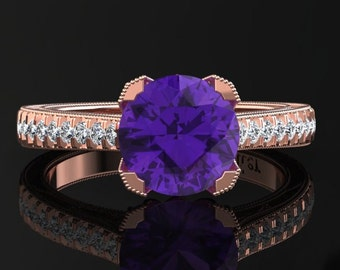 Amethyst Engagement Ring Amethyst Ring 14k or 18k Rose Gold Matching Wedding Band Available SW5PUR