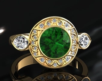 Emerald Engagement Ring Halo Emerald Ring 14k or 18k Yellow Gold W19GY