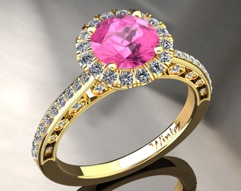 Pink Sapphire Halo Engagement Ring Pink Sapphire Ring 14k or 18k Yellow Gold W5PKY