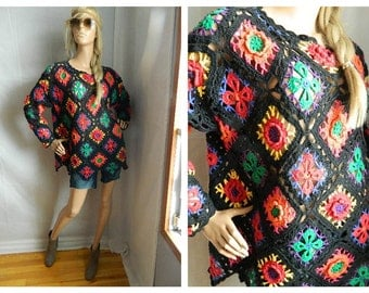 Vintage Boho Multi Colored Open Knit Sweater Size S-M