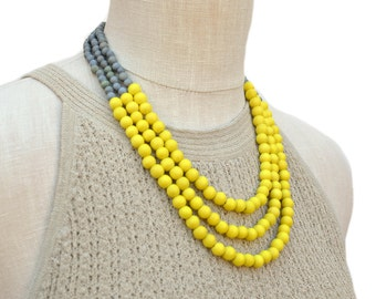 yellow and gray necklace / yellow beaded necklace / yellow and grey bridesmaid necklace / yellow necklace / summer necklace