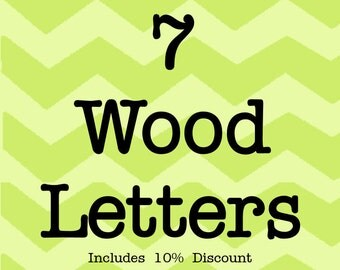 Larson Designs 7 Wood Letters with Ribbons