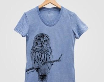 OWL Shirt Women Hand Screen Print Tri-Blend Short Sleeve Tshirt Available: S , M , L , XL