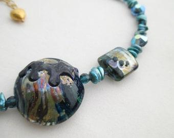 SALE - Blue Silvered Glass, Keshi Pearl and Vintage Swarovski Crystal Lampwork Glass Necklace