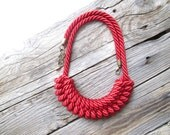 Red Rope necklace Nautical rope necklace