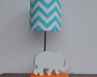 Handmade Elephant Lamp and Girly Blue/White Chevron Lamp Shade - For Mariana