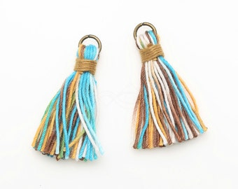 4016158 / Mixed Colors + Light Brown / Cotton Tassel / 7mm Diameter Antique Brass Plated Loop, 37mm Length / 0.5g / 48strands / 2pcs