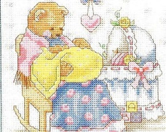Ready To Ship Counted Cross Stitch Baby Sampler Babies Don't Keep Whimsical Teddy Bear Mother and Child  Baby Shower Gift