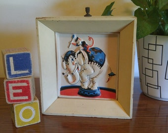 Vintage Art for Nursery/ Child's Bedroom- Shadow Box Night Light with Circus Elephant and Monkey