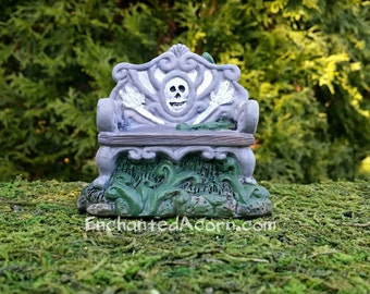 Miniature Skeleton Bench - Halloween Fairy Garden Accessory Fairy Furniture