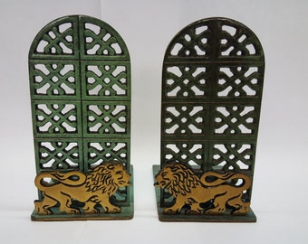 Brass Lion Green Verdigris Vintage Bookends for a Desktop or Bookshelf or Tabletop Modern w/ Old Felt Pads on Base Library Book Holder