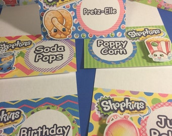 Shopkins Tent Food or Place Cards Qty 10