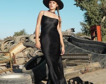 BLACK BEAUTY SILK Gown | Crepe de Chine Onyx | Bra Friendly Neckline with a Slight Cowl | Mini and Midi Optional Lengths
