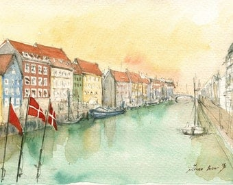 Copenhagen painting Print -Nyhavn Copenhagen Denmark -Cityscape Capital Europe - Denmark art -  Print from watercolor painting by Juan Bosco
