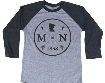 Homeland Tees Minnesota Arrow Tri-Blend Raglan Baseball Shirt