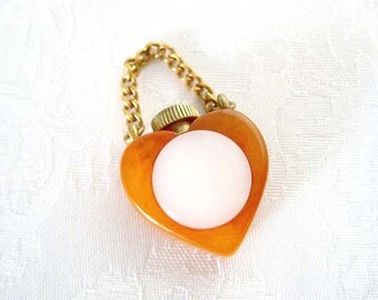 Vintage Bakelite Butterscotch Heart Perfume Charm w Pearlized Lucite Accent