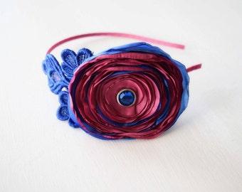 Cobalt Blue and Hot Pink Headband - Adult Headband - Satin Flower and Lace Headband - Nautical Headband - Womans Accessory - Fancy Headband